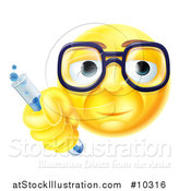 Vector Illustration of a Yellow Smiley Face Emoji Emoticon Scientist Holding a Test Tube by AtStockIllustration