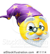 Vector Illustration of a Yellow Wizard Smiley Emoji Emoticon Face by AtStockIllustration