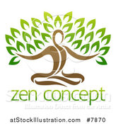 Vector Illustration of a Yoga Man Tree over Sample Text by AtStockIllustration