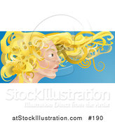 Vector Illustration of a Young Blond Caucasian Woman with Her Hair Flying in the Breeze by AtStockIllustration