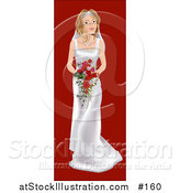 Vector Illustration of a Young Blond White Bride on Her Wedding Day, Wearing a White Dress and Holding a Bouquet of Red Flowers by AtStockIllustration