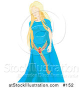 Vector Illustration of a Young Blond White Princess in a Blue Dress by AtStockIllustration