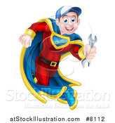 Vector Illustration of a Young Brunette Caucasian Male Super Hero Mechanic Running with a Wrench by AtStockIllustration