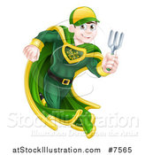 Vector Illustration of a Young Brunette Caucasian Male Super Hero Running with a Garden Fork or Hand Rake by AtStockIllustration