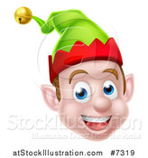 Vector Illustration of a Young Brunette White Male Christmas Elf Face by AtStockIllustration