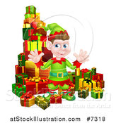 Vector Illustration of a Young Brunette White Male Christmas Elf Surrounded with Gifts by AtStockIllustration