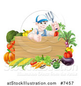 Vector Illustration of a Young Brunette White Male Gardener in Blue, Holding up a Garden Fork and Giving a Thumb up over a Blank Wood Sign with Produce by AtStockIllustration