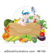 Vector Illustration of a Young Brunette White Male Gardener in Blue, Holding up a Garden Spade and Giving a Thumb up over a Blank Wood Sign with Produce by AtStockIllustration
