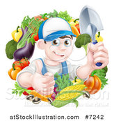 Vector Illustration of a Young Brunette White Male Gardener in Blue, Holding up a Shovel and Giving a Thumb up in a Wreath of Produce by AtStockIllustration