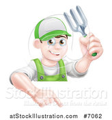Vector Illustration of a Young Brunette White Male Gardener in Green, Holding up a Garden Fork and Pointing down over a Sign by AtStockIllustration