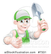 Vector Illustration of a Young Brunette White Male Gardener in Green, Holding up a Shovel and Giving a Thumb up by AtStockIllustration