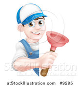 Vector Illustration of a Young Brunette White Male Plumber Holding a Plunger Around a Sign by AtStockIllustration