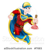 Vector Illustration of a Young Brunette White Male Plumber Super Hero Running with a Plunger by AtStockIllustration