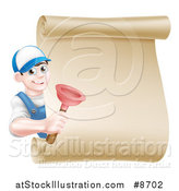 Vector Illustration of a Young Brunette White Male Plumber Wearing a Baseball Cap, Holding a Plunger Around a Scroll Sign by AtStockIllustration
