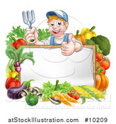 Vector Illustration of a Young Caucasian Male Gardener in Blue, Holding up a Garden Fork and Giving a Thumb up over a Blank White Sign with Produce by AtStockIllustration