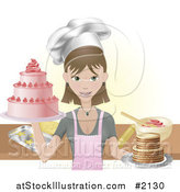 Vector Illustration of a Young Female Chef Holding Two Cakes by AtStockIllustration
