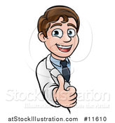 Vector Illustration of a Young Male Scientist Giving a Thumb up Around a Sign by AtStockIllustration