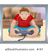 Vector Illustration of a Young Man Playing a Video Game and Sitting on the Floor by AtStockIllustration