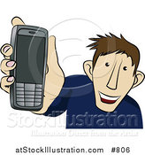 Vector Illustration of a Young Man Showing off His New Cellphone by AtStockIllustration