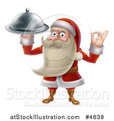 Vector Illustration of a Young Santa Claus Holding a Food Platter and Gesturing Ok by AtStockIllustration
