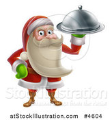 Vector Illustration of a Young Santa Claus Holding a Food Platter by AtStockIllustration