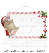 Vector Illustration of a Young Santa Claus Looking Around and Pointing to a Candy Cane Sign with Holly by AtStockIllustration