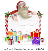 Vector Illustration of a Young Santa Claus Pointing down to a Candy Cane Sign with Gift Boxes by AtStockIllustration