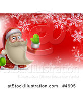 Vector Illustration of a Young Santa Claus Waving over Red with Snowflakes by AtStockIllustration