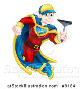 Vector Illustration of a Young Super Hero Brunette White Male Window Cleaner Running with a Squeegee by AtStockIllustration