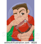Vector Illustration of a Young Troublemaker Man Aiming a Slingshot by AtStockIllustration
