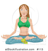 Vector Illustration of a Young Woman Seated in the Lotus Yoga Position by AtStockIllustration