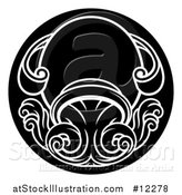 Vector Illustration of a Zodiac Horoscope Astrology Aquarius Circle Design, Black and White by AtStockIllustration