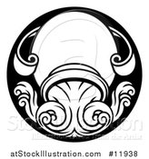 Vector Illustration of a Zodiac Horoscope Astrology Aquarius Circle Design in Black and White by AtStockIllustration
