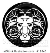 Vector Illustration of a Zodiac Horoscope Astrology Aries Ram Circle Design, Black and White by AtStockIllustration