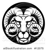 Vector Illustration of a Zodiac Horoscope Astrology Aries Ram Circle Design in Black and White by AtStockIllustration