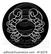 Vector Illustration of a Zodiac Horoscope Astrology Cancer Crab Circle Design, Black and White by AtStockIllustration