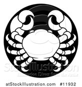 Vector Illustration of a Zodiac Horoscope Astrology Cancer Crab Circle Design in Black and White by AtStockIllustration