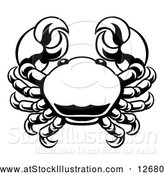 Vector Illustration of a Zodiac Horoscope Astrology Cancer Crab Design, Black and White by AtStockIllustration