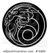 Vector Illustration of a Zodiac Horoscope Astrology Capricorn Sea Goat Circle Design, Black and White by AtStockIllustration