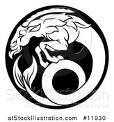Vector Illustration of a Zodiac Horoscope Astrology Capricorn Sea Goat Circle Design in Black and White by AtStockIllustration