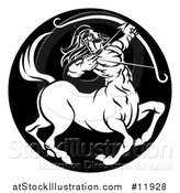 Vector Illustration of a Zodiac Horoscope Astrology Centaur Sagittarius Circle Design in Black and White by AtStockIllustration