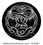 Vector Illustration of a Zodiac Horoscope Astrology Gemini Twins Circle Design, Black and White by AtStockIllustration