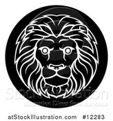Vector Illustration of a Zodiac Horoscope Astrology Leo Lion Circle Design, Black and White by AtStockIllustration