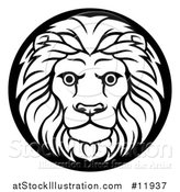Vector Illustration of a Zodiac Horoscope Astrology Leo Lion Circle Design in Black and White by AtStockIllustration