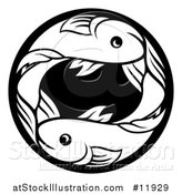 Vector Illustration of a Zodiac Horoscope Astrology Pisces Fish Circle Design in Black and White by AtStockIllustration