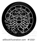 Vector Illustration of a Zodiac Horoscope Astrology Scorpio Circle Design in Black and White by AtStockIllustration