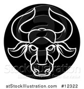 Vector Illustration of a Zodiac Horoscope Astrology Taurus Bull Circle Design in Black and White by AtStockIllustration