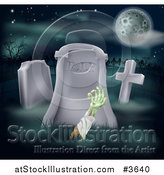 Vector Illustration of a Zombie Hand Reaching out from a Grave in a Cemetery by AtStockIllustration