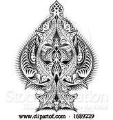 Vector Illustration of Ace of Spades Icon Shape Abstract Pattern by AtStockIllustration