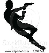 Vector Illustration of Action Movie Shoot out Person Silhouette by AtStockIllustration